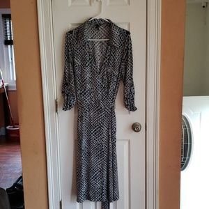 Gray with blue and black circle print wrap dress